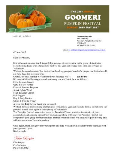 Amlc Lions Goomeri Pumpkin Festival Volunteers